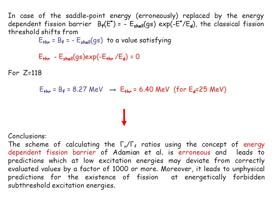 In case of the saddle-point energy (erroneously) replaced by the energy dependent fission barrier B f (E * ) = - E shell (gs) exp(-E * /E d ), the cla