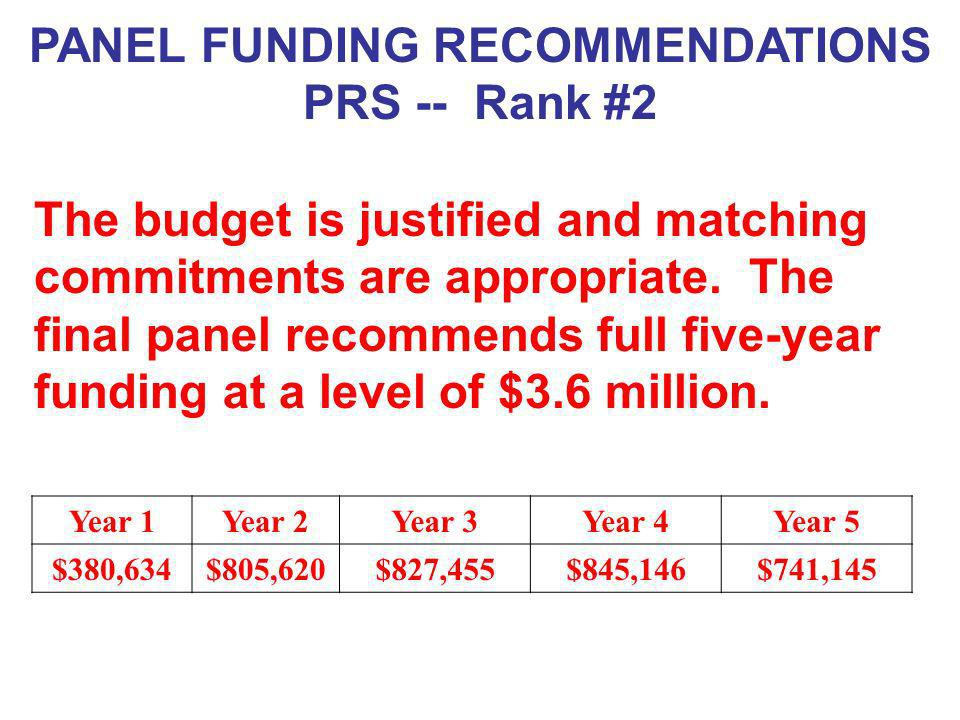PANEL FUNDING RECOMMENDATIONS PRS -- Rank #2 The budget is justified and matching commitments are appropriate. The final panel recommends full five-ye