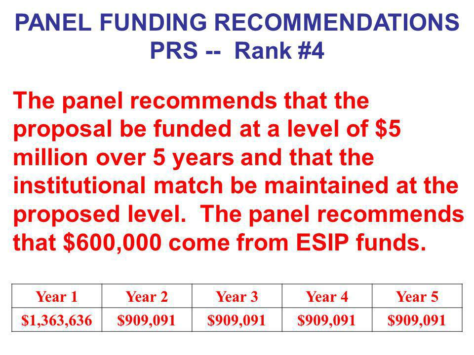 PANEL FUNDING RECOMMENDATIONS PRS -- Rank #4 The panel recommends that the proposal be funded at a level of $5 million over 5 years and that the insti