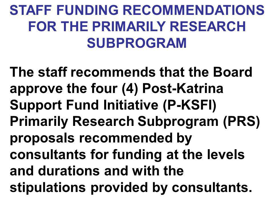 STAFF FUNDING RECOMMENDATIONS FOR THE PRIMARILY RESEARCH SUBPROGRAM The staff recommends that the Board approve the four (4) Post-Katrina Support Fund