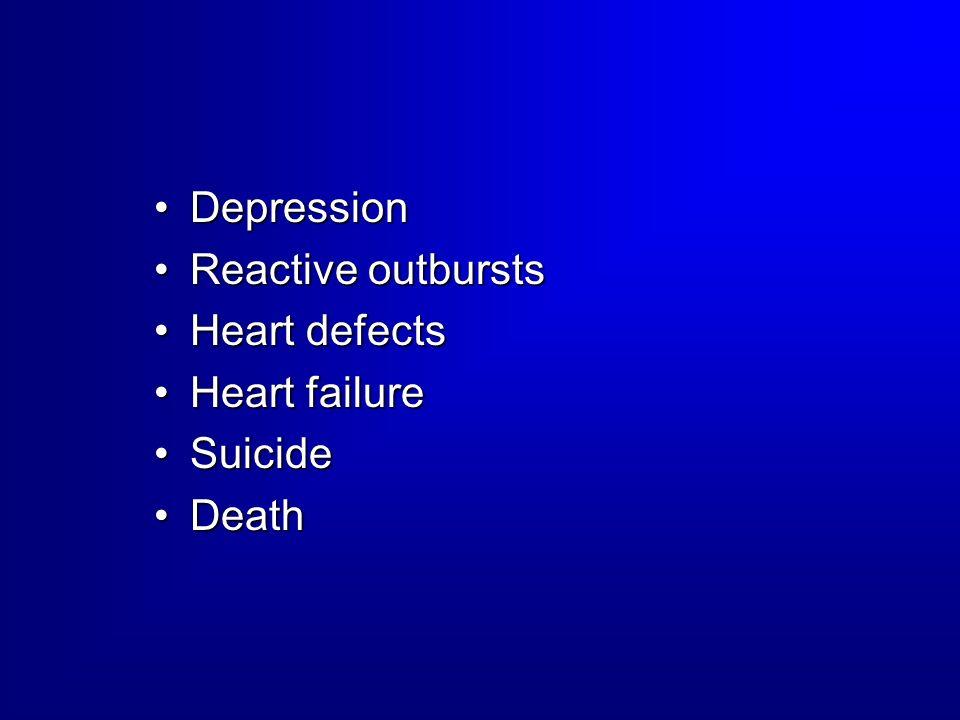 DepressionDepression Reactive outburstsReactive outbursts Heart defectsHeart defects Heart failureHeart failure SuicideSuicide DeathDeath