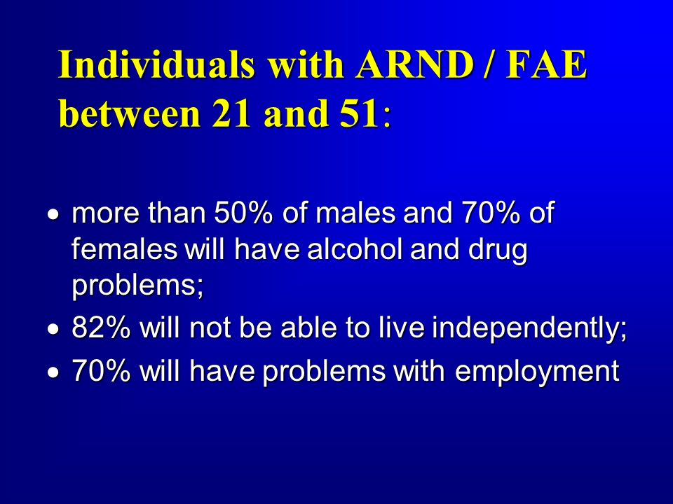 Individuals with ARND / FAE between 21 and 51: more than 50% of males and 70% of females will have alcohol and drug problems; more than 50% of males a