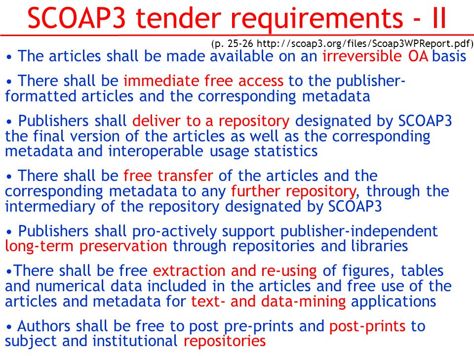 SCOAP3 tender requirements - II (p.