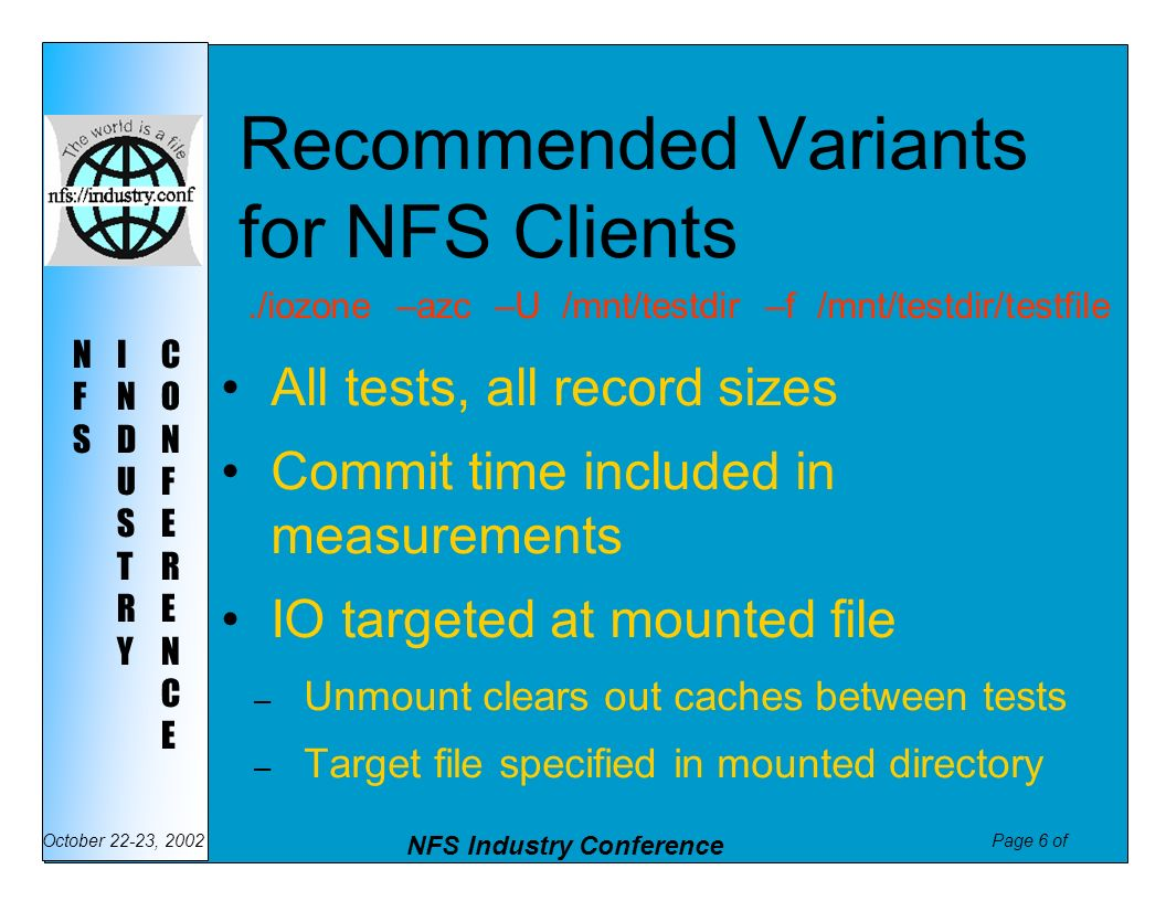 Page 6 of NFS Industry Conference October 22-23, 2002 NFSNFS INDUSTRYINDUSTRY CONFERENCECONFERENCE Recommended Variants for NFS Clients All tests, all