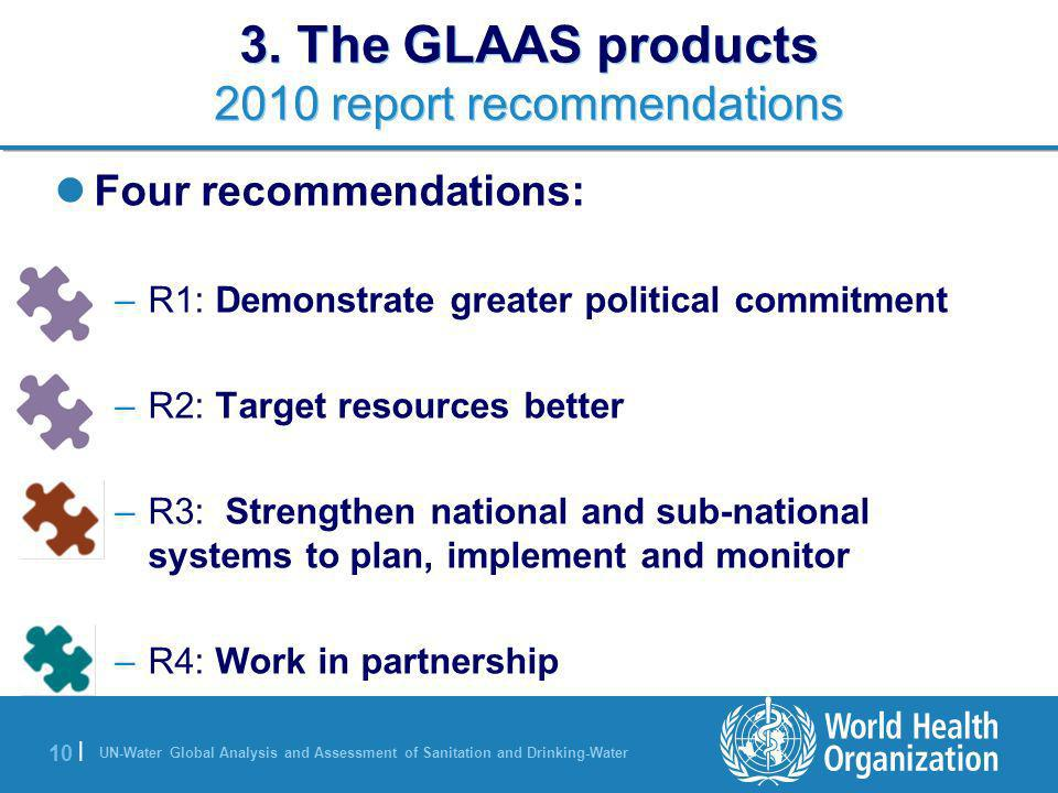 UN-Water Global Analysis and Assessment of Sanitation and Drinking-Water 10 | 3. The GLAAS products 2010 report recommendations Four recommendations: