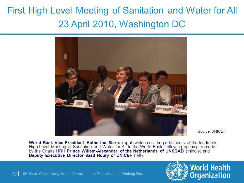 UN-Water Global Analysis and Assessment of Sanitation and Drinking-Water 19 | World Bank Vice-President Katherine Sierra (right) welcomes the particip