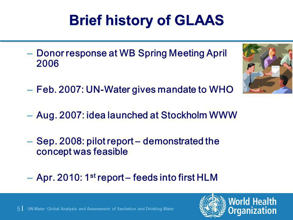 UN-Water Global Analysis and Assessment of Sanitation and Drinking-Water 5 |5 | Brief history of GLAAS – Donor response at WB Spring Meeting April 200