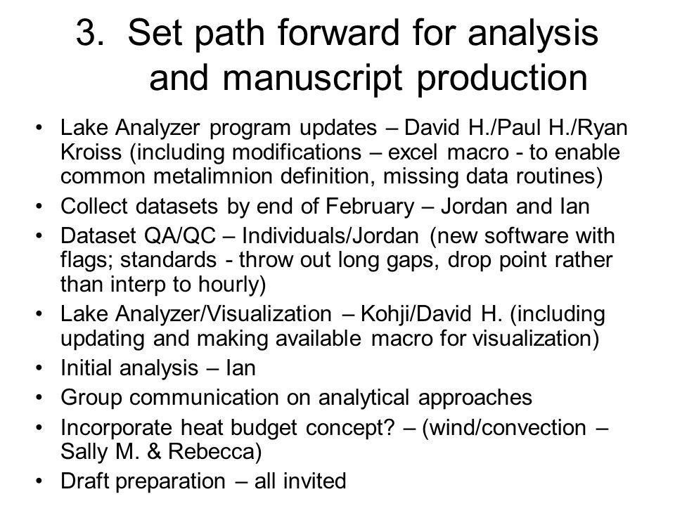 3. Set path forward for analysis and manuscript production Lake Analyzer program updates – David H./Paul H./Ryan Kroiss (including modifications – exc