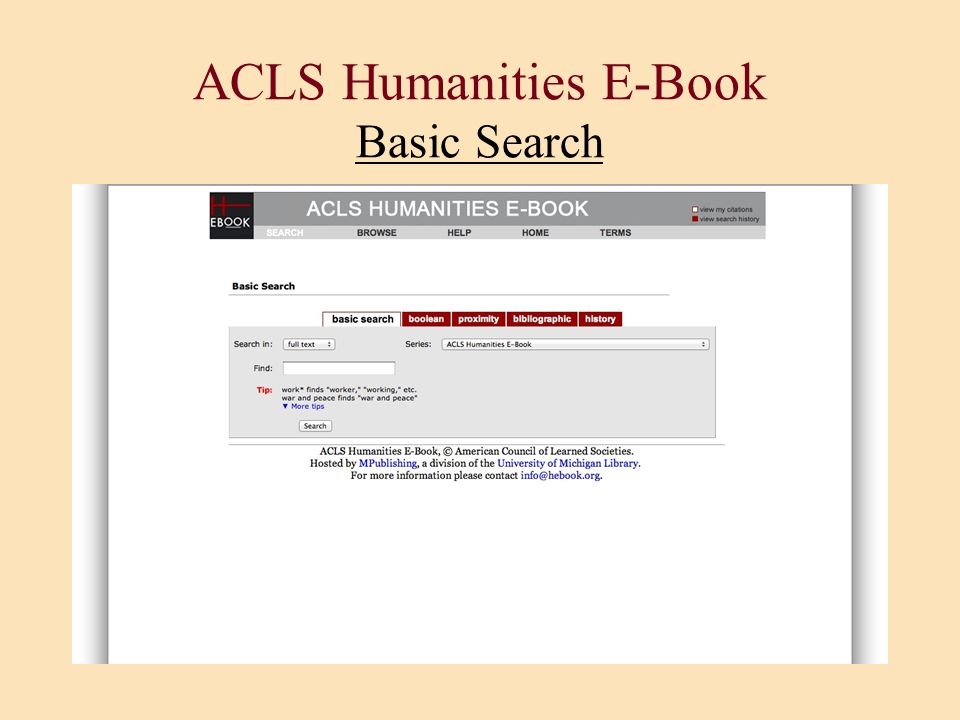 ACLS Humanities E-Book Basic Search