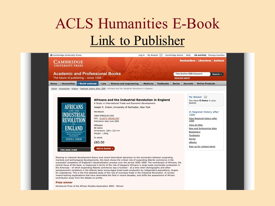 ACLS Humanities E-Book Link to Publisher