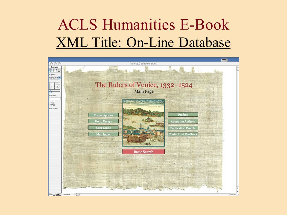 ACLS Humanities E-Book XML Title: On-Line Database