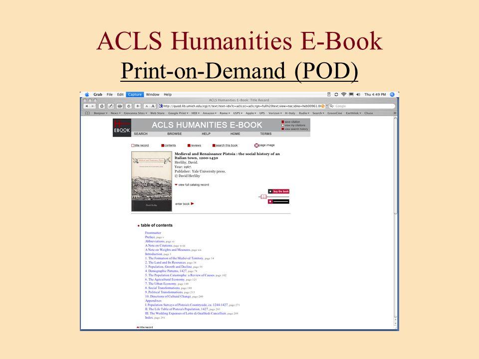 ACLS Humanities E-Book Print-on-Demand (POD)
