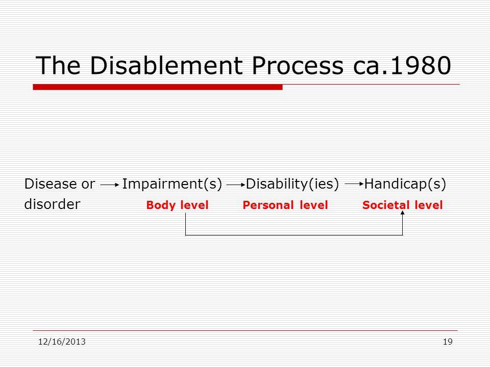12/16/201319 The Disablement Process ca.1980 Disease orImpairment(s) Disability(ies) Handicap(s) disorder Body level Personal level Societal level