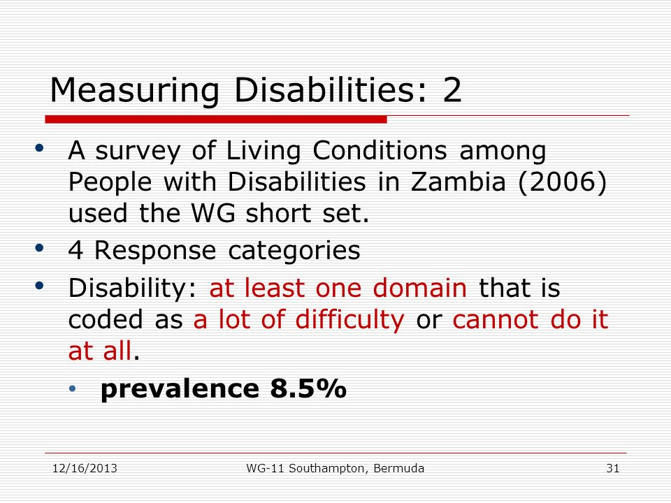 Measuring Disabilities: 2 A survey of Living Conditions among People with Disabilities in Zambia (2006) used the WG short set. 4 Response categories D