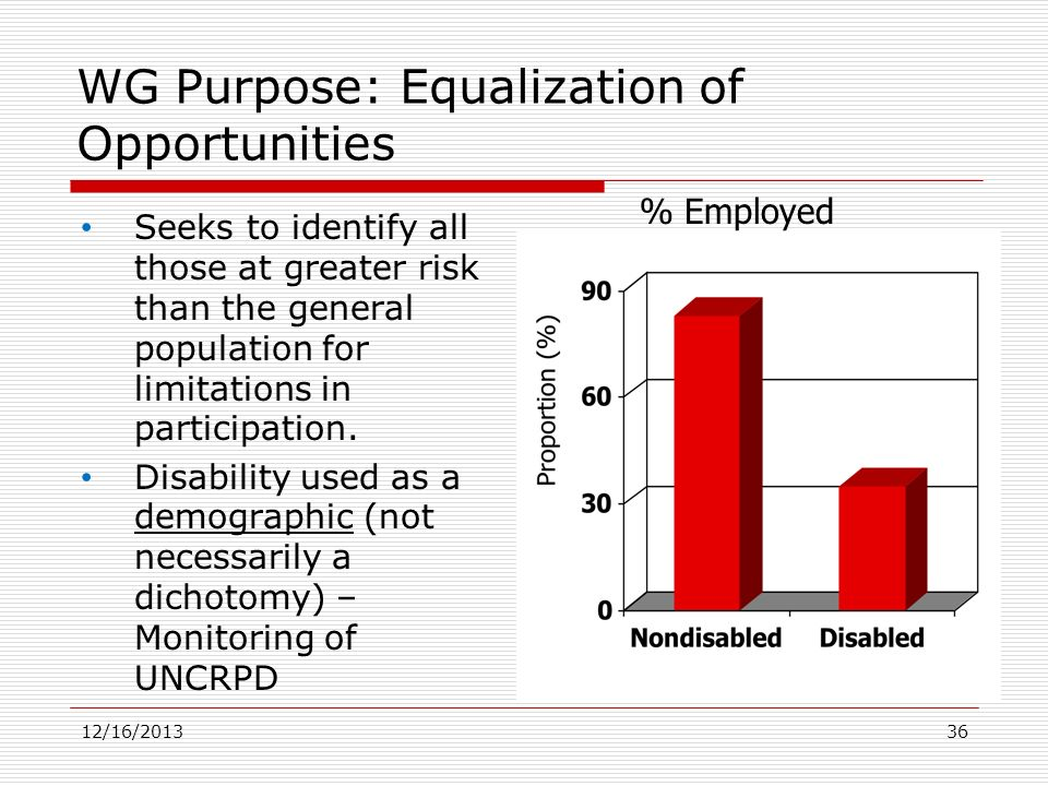 WG Purpose: Equalization of Opportunities Seeks to identify all those at greater risk than the general population for limitations in participation. Di