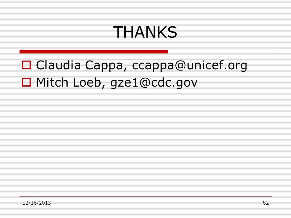 THANKS Claudia Cappa, ccappa@unicef.org Mitch Loeb, gze1@cdc.gov 12/16/201382