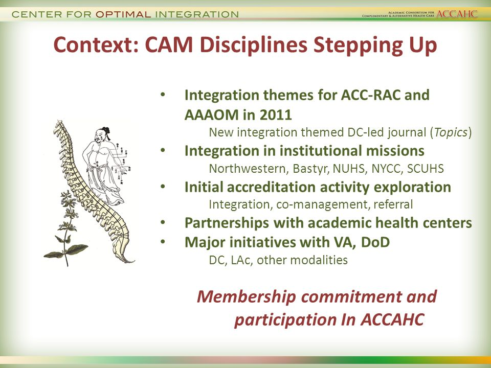 Context: CAM Disciplines Stepping Up Integration themes for ACC-RAC and AAAOM in 2011 New integration themed DC-led journal (Topics) Integration in institutional missions Northwestern, Bastyr, NUHS, NYCC, SCUHS Initial accreditation activity exploration Integration, co-management, referral Partnerships with academic health centers Major initiatives with VA, DoD DC, LAc, other modalities Membership commitment and participation In ACCAHC