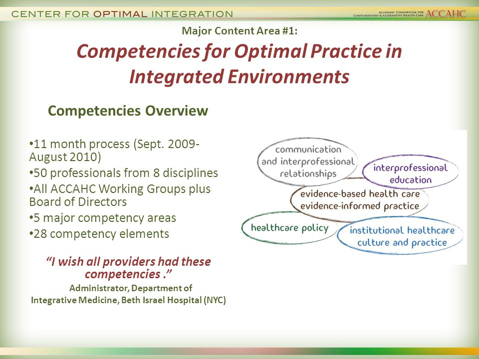 Major Content Area #1: Competencies for Optimal Practice in Integrated Environments Competencies Overview 11 month process (Sept.