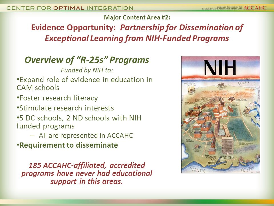 Major Content Area #2: Evidence Opportunity: Partnership for Dissemination of Exceptional Learning from NIH-Funded Programs Overview of R-25s Programs Funded by NIH to: Expand role of evidence in education in CAM schools Foster research literacy Stimulate research interests 5 DC schools, 2 ND schools with NIH funded programs – All are represented in ACCAHC Requirement to disseminate 185 ACCAHC-affiliated, accredited programs have never had educational support in this areas.