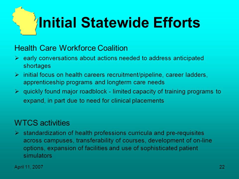 April 11, 200721 Initial Statewide Efforts April 2000 - Formation of Health Care Workforce Coalition joint project of WHA, AHEC and many other partner