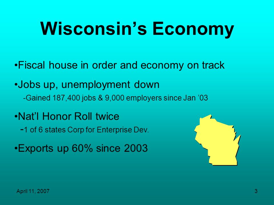 April 11, 200753 Wisconsin Residents 1 in 8 residents over age 65 in 2005 1 in 6 in 2020, 1 in 5 in 2030 Age group 55-64 grew by 27% from 2000-2005 Those 64 in 2005 will be 79 in 2020 Many nurses in this group Age group 85+ grew by 22% from 2000-2005 Fastest growing age group (Health Care Wisconsin: Report from the Governor s Health Care Workforce Shortage Committee, 2005; Wisconsin Department of Health & Family Services)