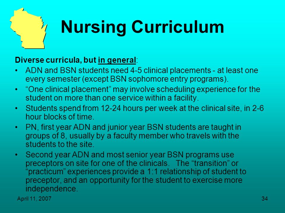 April 11, 200733 Focus on Nursing Summer of 2006 survey of health professions programs indicated a need for more clinical placements in many disciplin