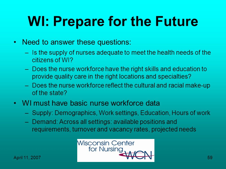 April 11, 200758 Question for WI: Will Supply=Demand? WI does not have coordinated, systematic method of collecting nurse workforce data –Supply –Dema