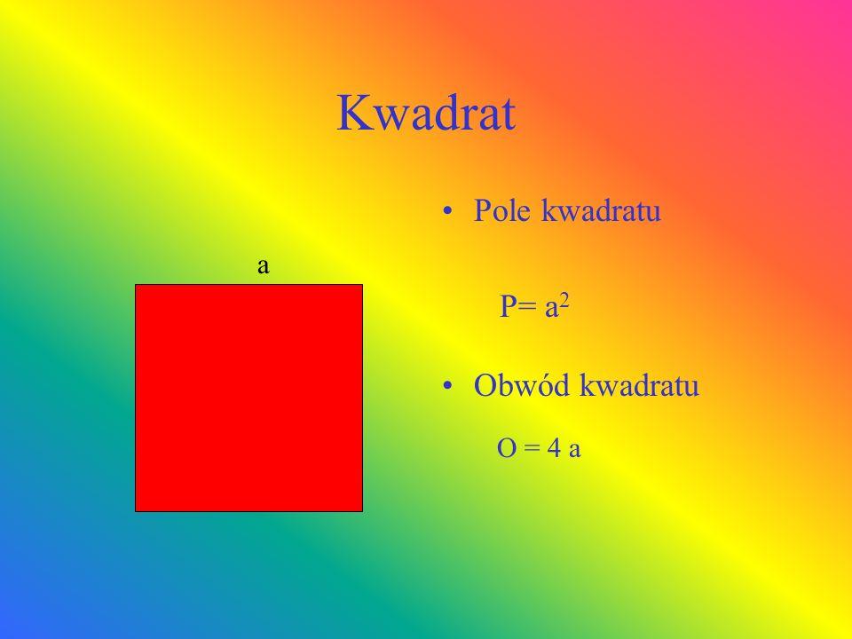 Kwadrat Pole kwadratu P= a 2 Obwód kwadratu O = 4 a a