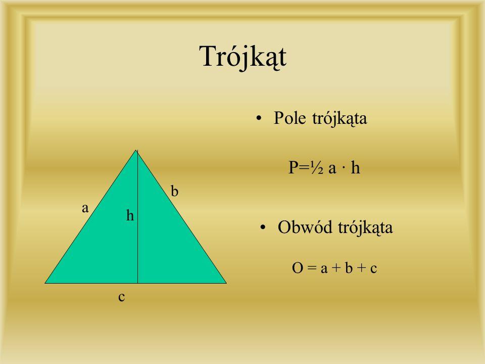 Prostokąt Pole prostokata a b P = a · b Obwód prostokata O = 2a + 2b
