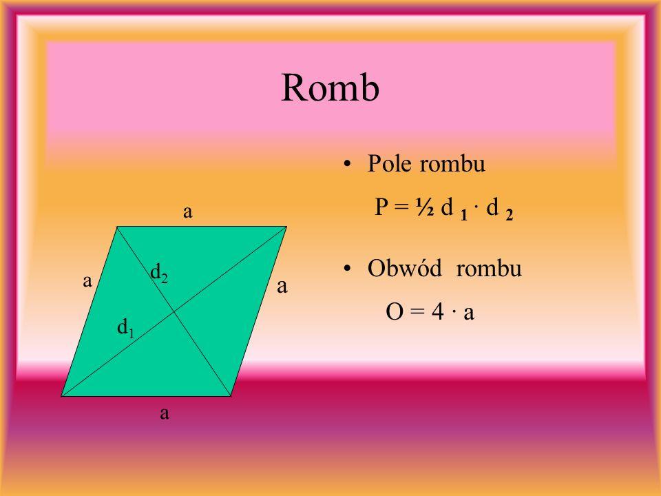 Romb Pole rombu d1d1 d2d2 a a a a Obwód rombu P = ½ d 1 · d 2 O = 4 · a