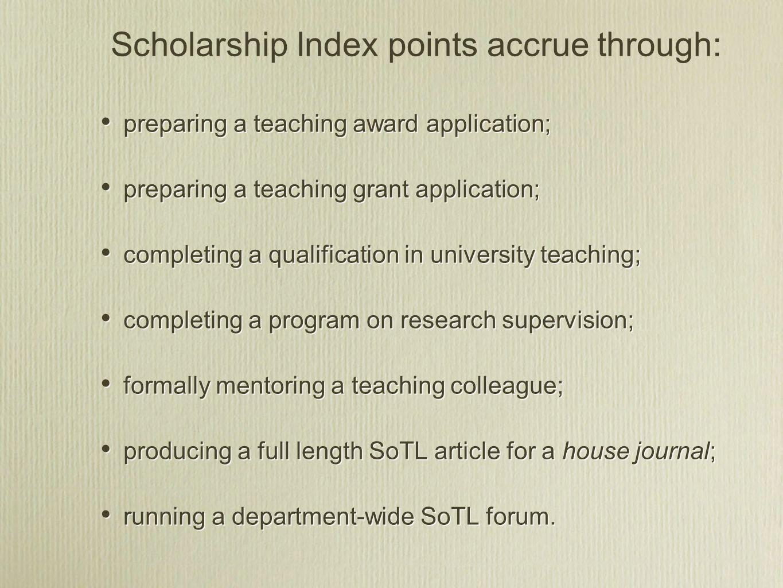 preparing a teaching award application; preparing a teaching grant application; completing a qualification in university teaching; completing a progra