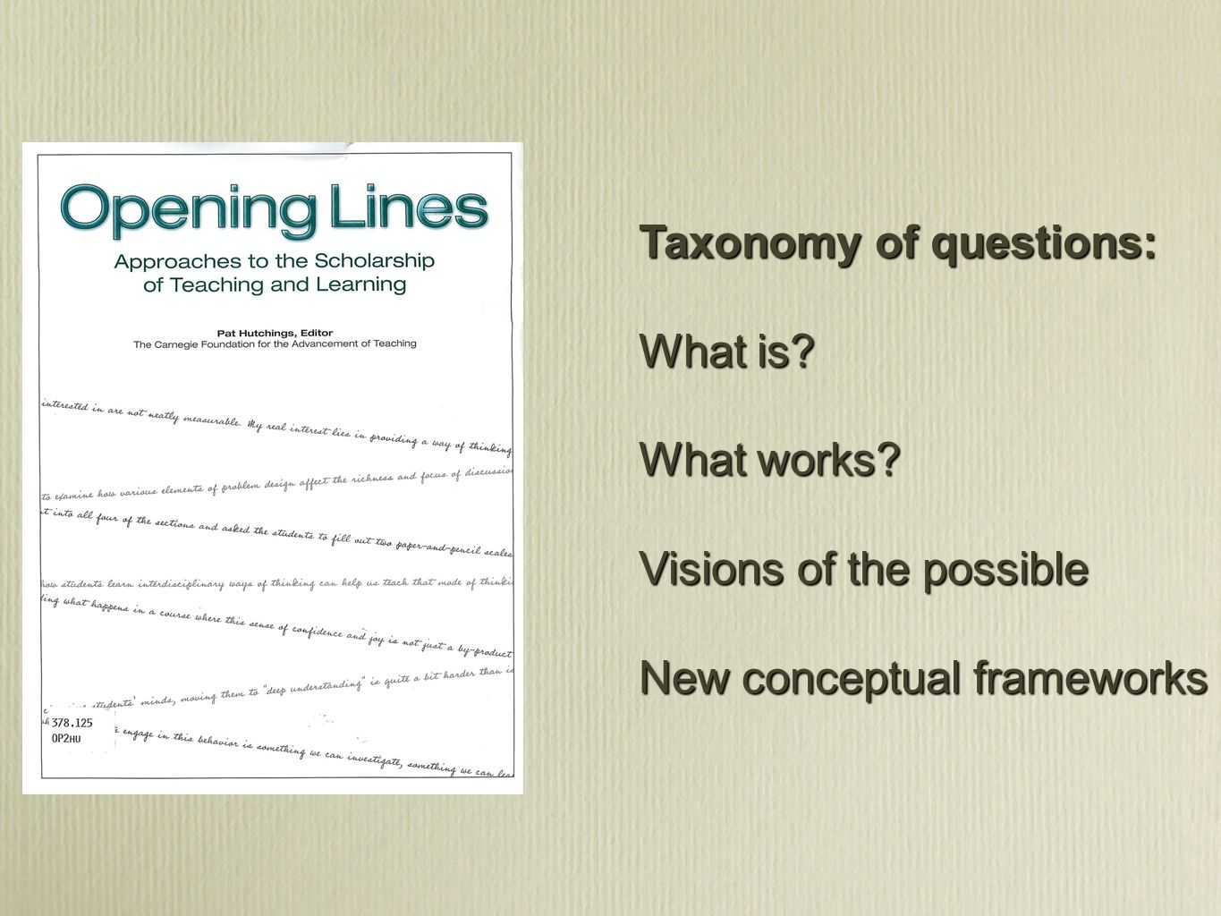 Taxonomy of questions: What is? What works? Visions of the possible New conceptual frameworks