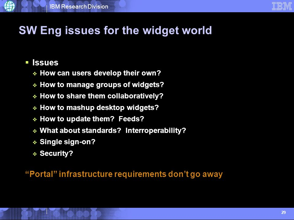 IBM Research Division 29 SW Eng issues for the widget world Issues How can users develop their own.