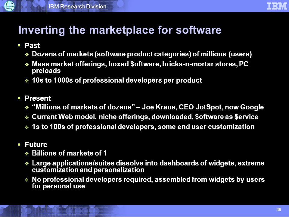 IBM Research Division 36 Inverting the marketplace for software Past Dozens of markets (software product categories) of millions (users) Mass market offerings, boxed $oftware, bricks-n-mortar stores, PC preloads 10s to 1000s of professional developers per product Present Millions of markets of dozens – Joe Kraus, CEO JotSpot, now Google Current Web model, niche offerings, downloaded, $oftware as $ervice 1s to 100s of professional developers, some end user customization Future Billions of markets of 1 Large applications/suites dissolve into dashboards of widgets, extreme customization and personalization No professional developers required, assembled from widgets by users for personal use