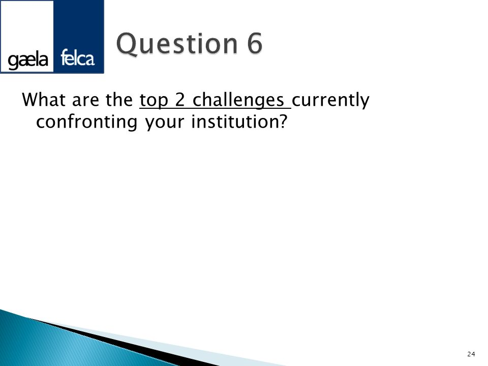 What are the top 2 challenges currently confronting your institution? 24