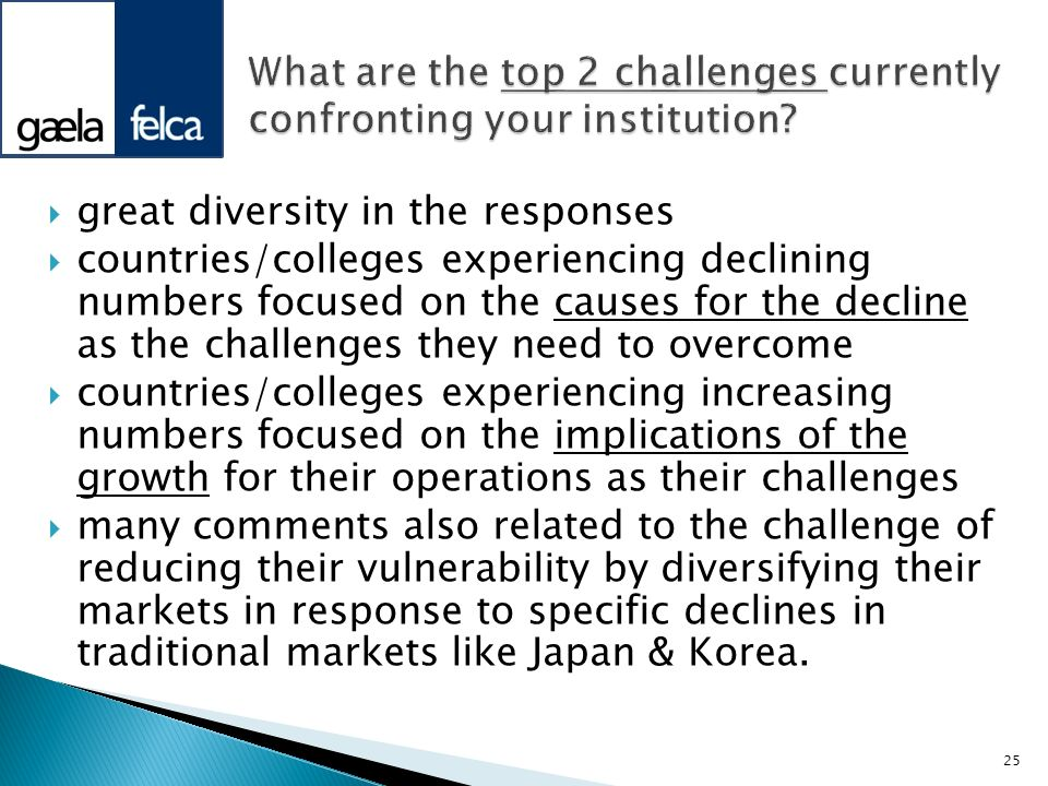 great diversity in the responses countries/colleges experiencing declining numbers focused on the causes for the decline as the challenges they need t