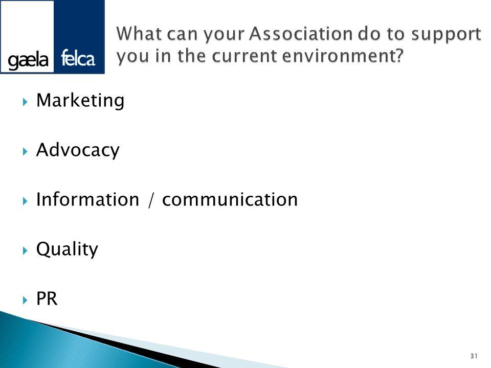 Marketing Advocacy Information / communication Quality PR 31