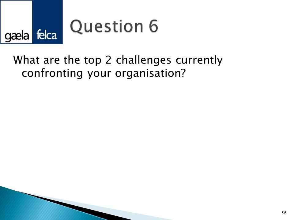 What are the top 2 challenges currently confronting your organisation? 56