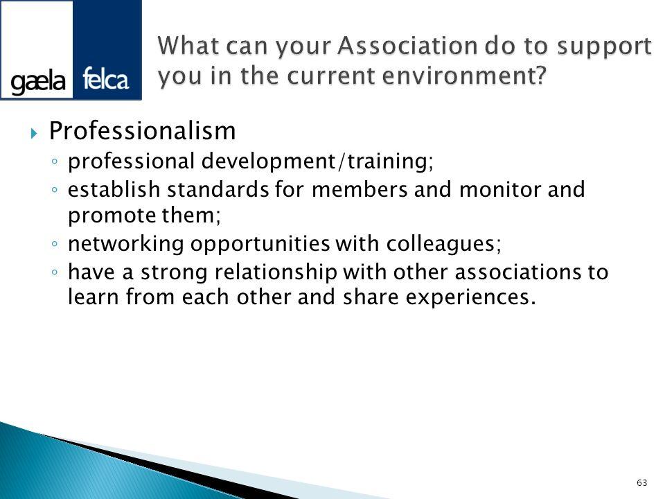 Professionalism professional development/training; establish standards for members and monitor and promote them; networking opportunities with colleag