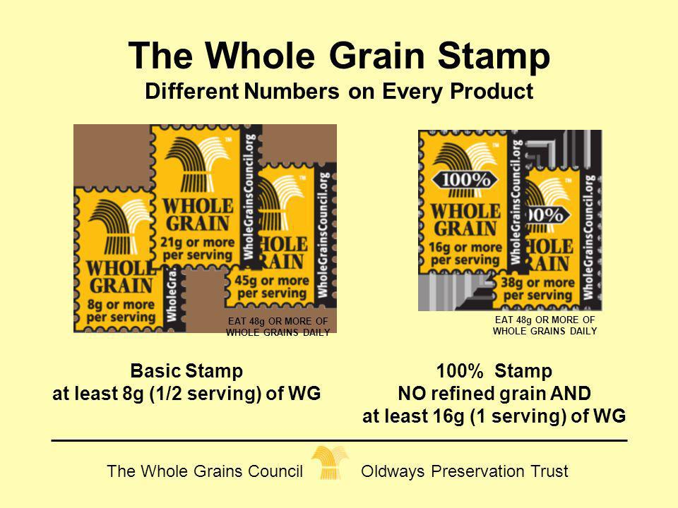 The Whole Grains Council Oldways Preservation Trust The Whole Grain Stamp Different Numbers on Every Product Basic Stamp at least 8g (1/2 serving) of
