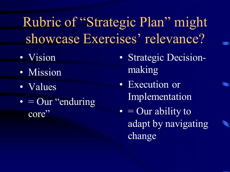Rubric of Strategic Plan might showcase Exercises relevance? Vision Mission Values = Our enduring core Strategic Decision- making Execution or Impleme