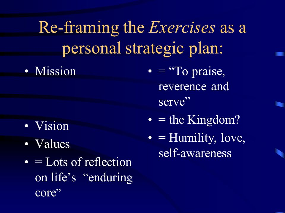 Re-framing the Exercises as a personal strategic plan: Mission Vision Values = Lots of reflection on lifes enduring core = To praise, reverence and se