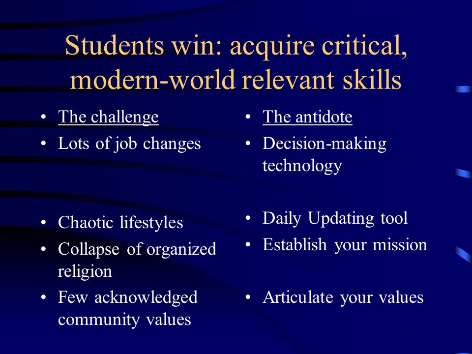 Students win: acquire critical, modern-world relevant skills The challenge Lots of job changes Chaotic lifestyles Collapse of organized religion Few a