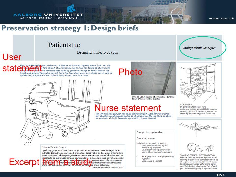 No. 6 User statement Excerpt from a study Nurse statement Photo Preservation strategy 1: Design briefs