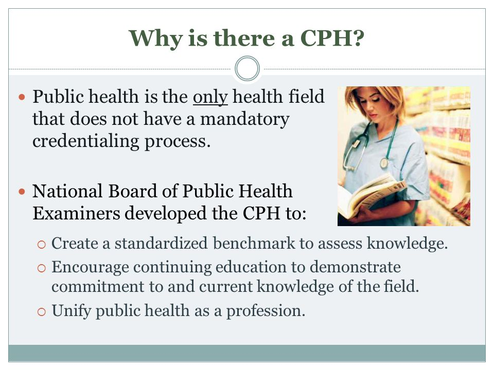 Why is there a CPH? Public health is the only health field that does not have a mandatory credentialing process. National Board of Public Health Exami