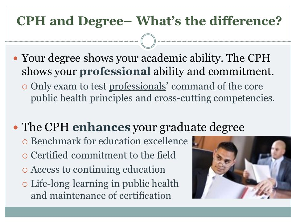 CPH and Degree– Whats the difference? Your degree shows your academic ability. The CPH shows your professional ability and commitment. Only exam to te