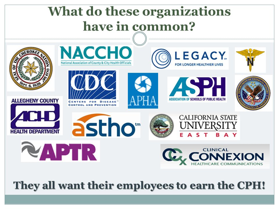 What do these organizations have in common? They all want their employees to earn the CPH!