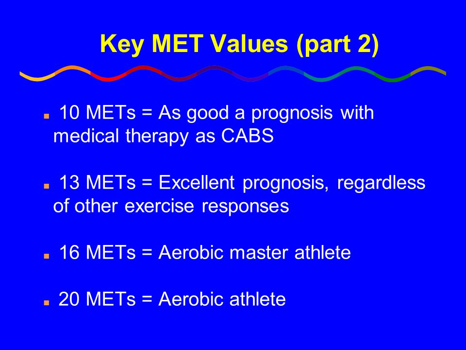 Key MET Values (part 2) n 10 METs = As good a prognosis with medical therapy as CABS n 13 METs = Excellent prognosis, regardless of other exercise res