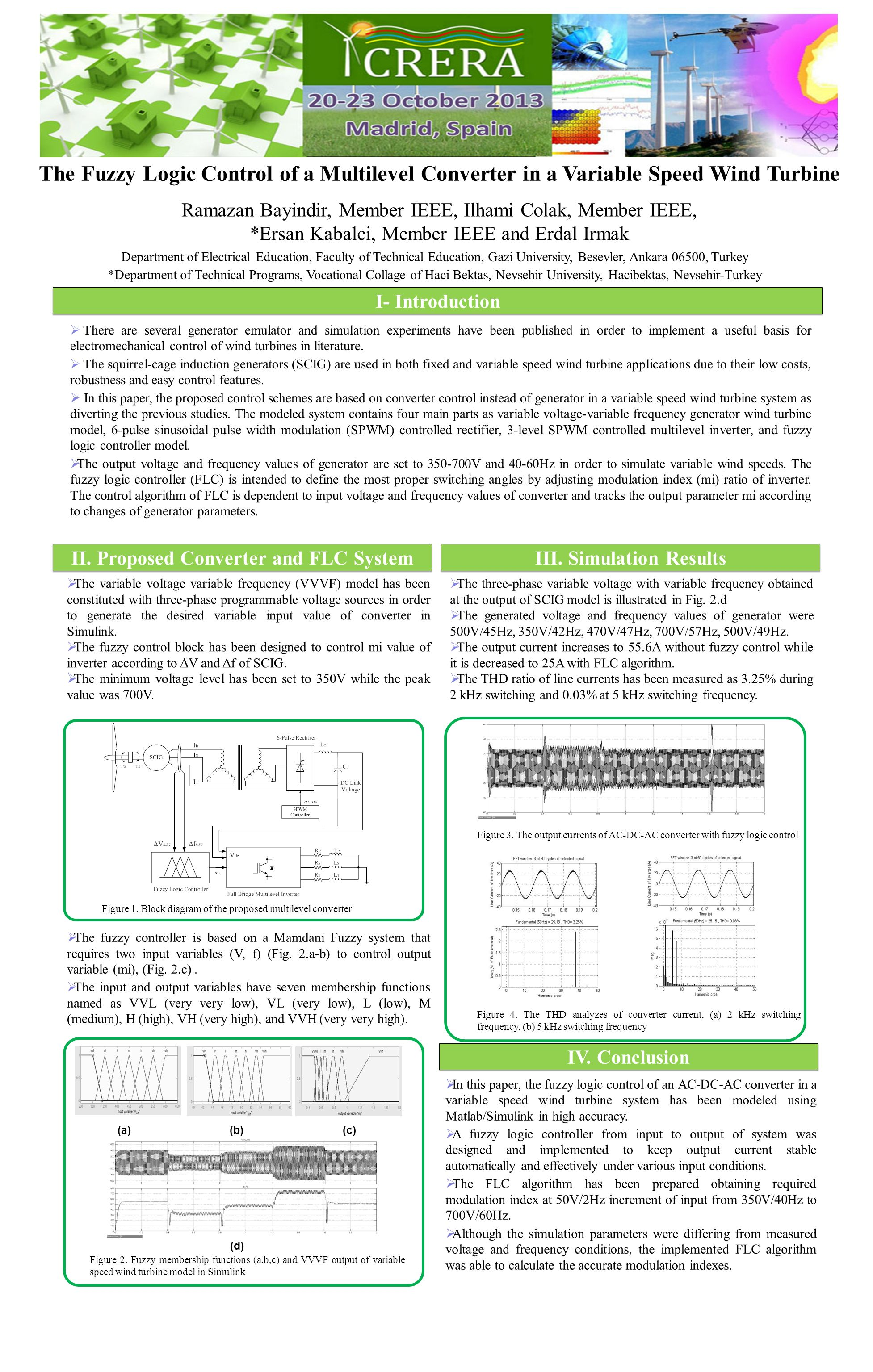 The Fuzzy Logic Control of a Multilevel Converter in a Variable Speed Wind Turbine Ramazan Bayindir, Member IEEE, Ilhami Colak, Member IEEE, *Ersan Ka