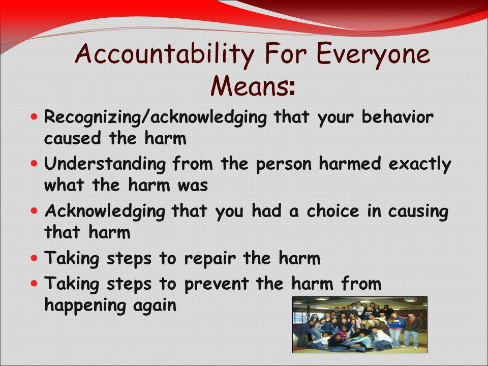 Accountability For Everyone Means : Recognizing/acknowledging that your behavior caused the harm Understanding from the person harmed exactly what the